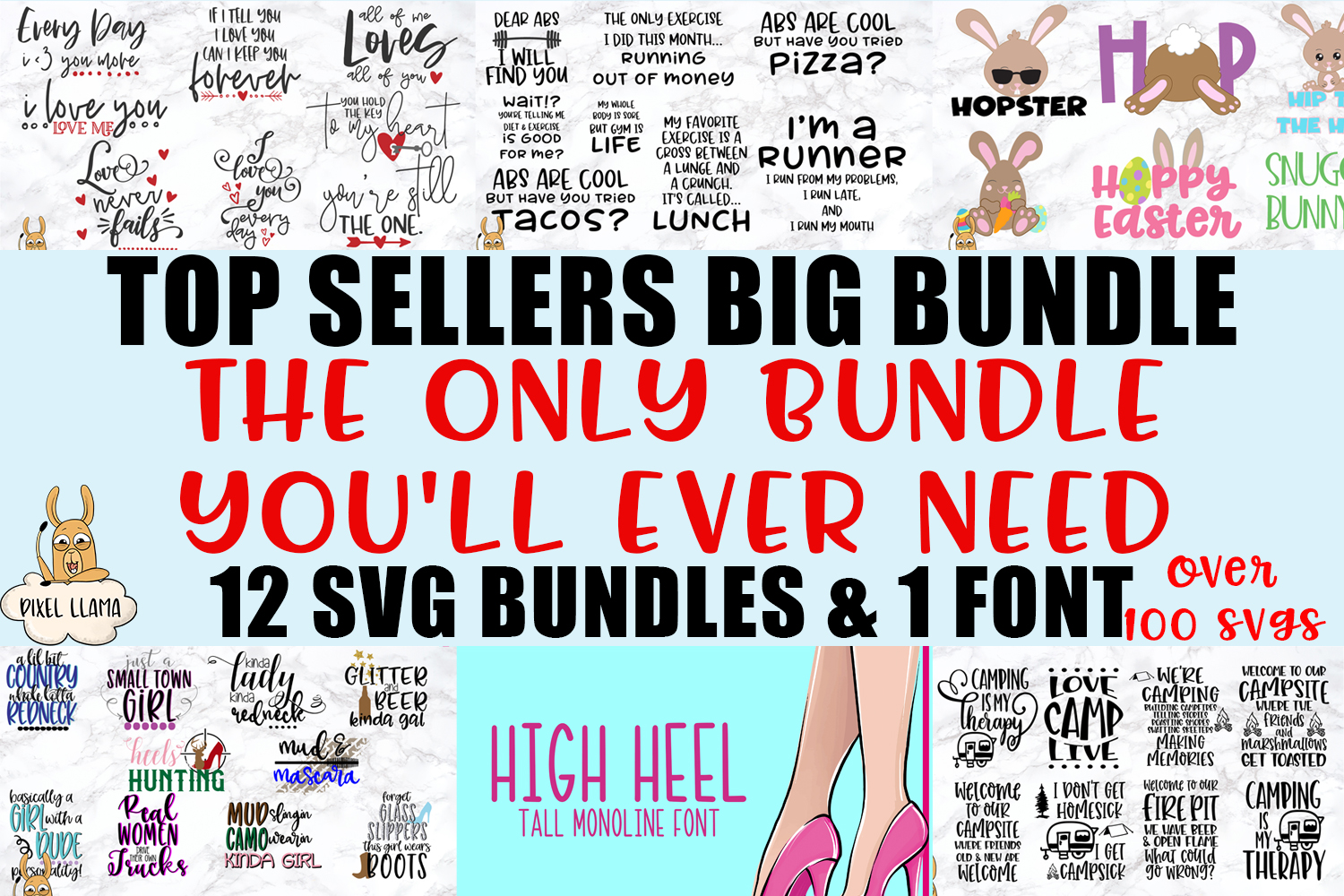 Top Seller SVG BIG Bundle and a Font