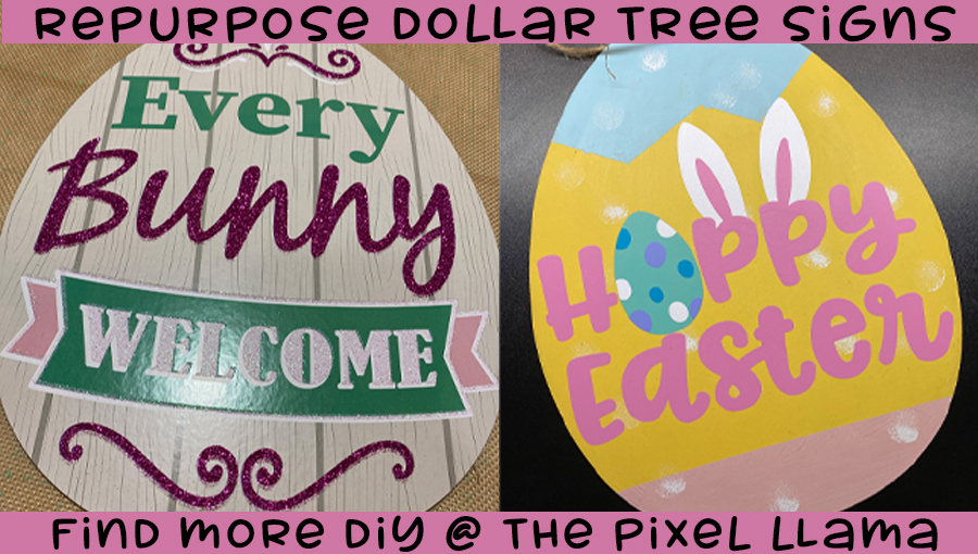 Upscale Dollar Tree Egg Sign – HTV on Cardboard